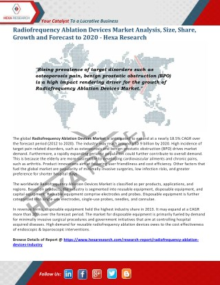 Radiofrequency Ablation Devices Market Size, Share | Industry Report, 2020 | Hexa Research