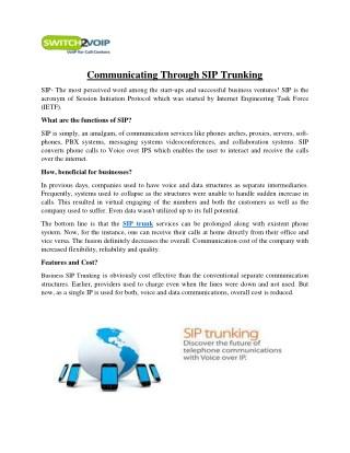 Communicating Through SIP Trunking
