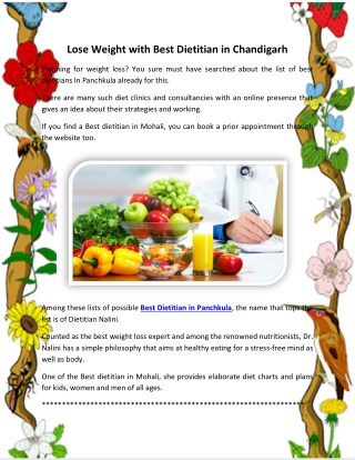Lose Weight with Best Dietitian in Chandigarh