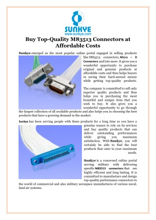 Buy Top-Quality M83513 Connectors at Affordable Costs