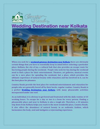 Wedding Gateway Destination Near Kolkata