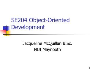 SE204  Object-Oriented Development