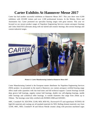 Carter Exhibits At Hannover Messe 2017