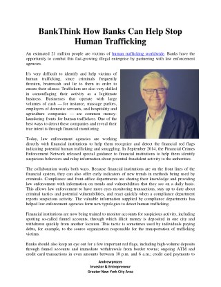 BankThink How Banks Can Help Stop Human Trafficking - Andrewprozes