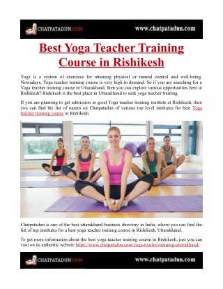 Best Yoga Teacher Training Course in Rishikesh