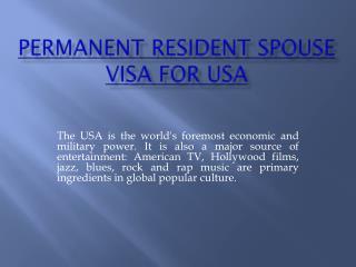 permanent resident spouse visa for usa
