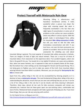 Protect yourself with Motorcycle Rain Gear