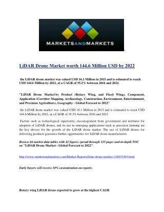The LiDAR drone market was valued at 16.1 Million in 2015