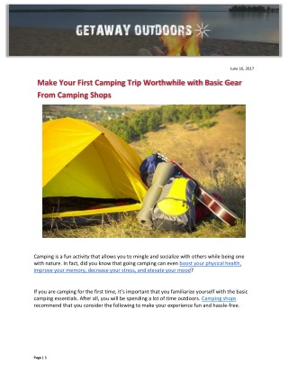 Make Your First Camping Trip Worthwhile with Basic Gear From Camping Shops