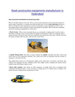 Road construction equipments manufacturer in Hyderabad