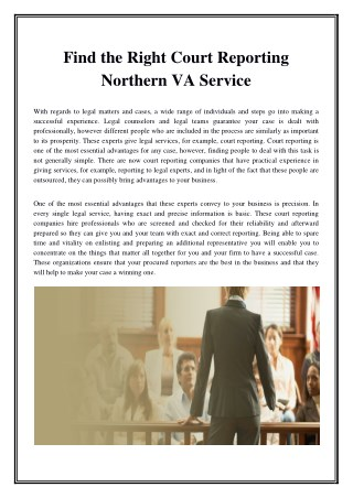 Find the Right Court Reporting Northern VA Service