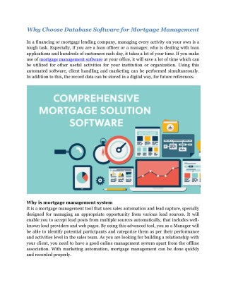 Unify - Mortgage Management and Database Software