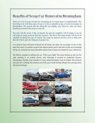 Benefits of Scrap Car Removal in Birmingham