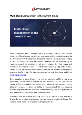 Multi Cloud Management in the Current Times
