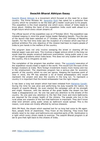 Swachh Bharat Abhiyan Essay (https://www.swamirara.com/swachh-bharat-abhiyan-essay/)