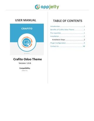 User Manual For Crafito Odoo Theme