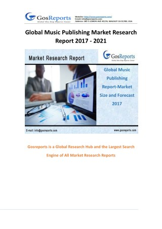 Gosreports New Study on Global Music Publishing Market 2017