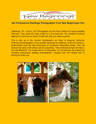 Get Professional Weddings Photographer From New Beginnings Firm