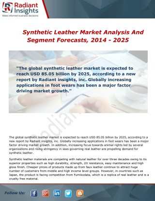 Synthetic Leather Market Growth, Trends and Forecast Report To 2014 - 2025