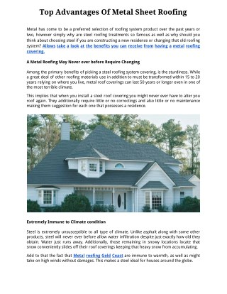 Top Advantages Of Metal Sheet Roofing