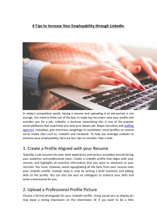 4 Tips to Increase Your Employability through LinkedIn