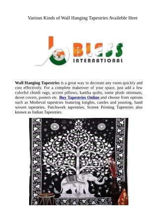 Various Kinds of Wall Hanging Tapestries Availeble Here