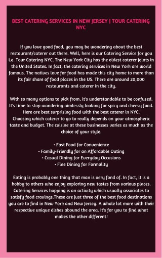Best Catering Services in New Jersey | Tour Catering NYC