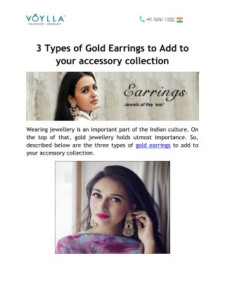 3 Types of Gold Earrings to Add to your accessory collection