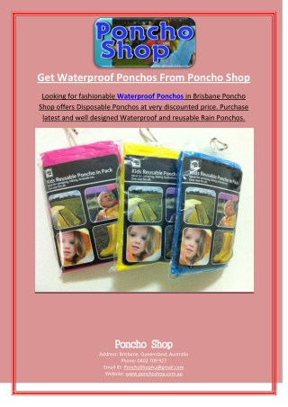 Get Waterproof Ponchos From Poncho Shop
