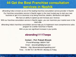 44 Get the Best Franchise consultation services in Nashik