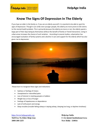 Know the Signs of Depression in the Elderly