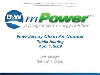 New Jersey Clean Air Council Public Hearing April 1, 2009