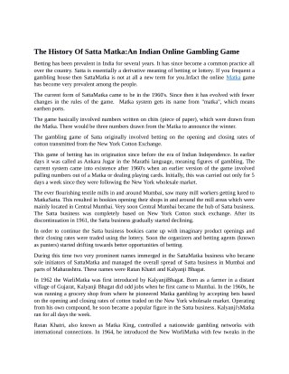The History Of Satta Matka:An Indian Online Gambling Game