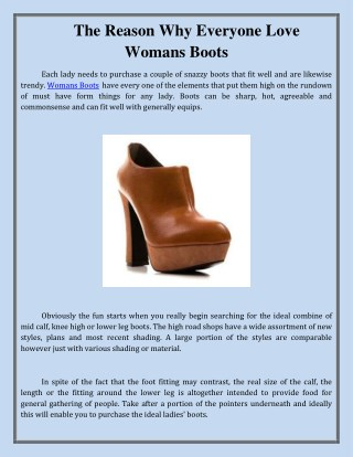 The Reason Why Everyone Love Womans Boots