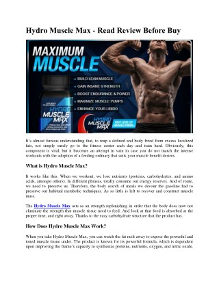 Hydro Muscle Max - Read Review Before Buy