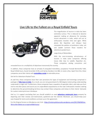 Live Life to the Fullest on a Royal Enfield Tours