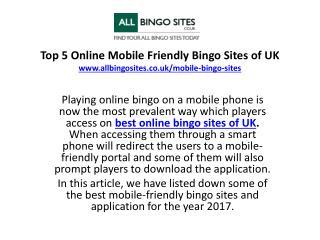Top 5 Mobile Friendly Bingo Sites of UK