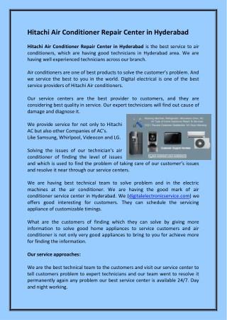 Hitachi Air Conditioner Repair Center in Hyderabad