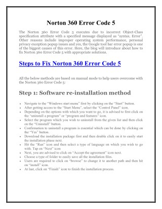 1800-431-268 - Simple Step to Fix Norton 360 Error Code 5