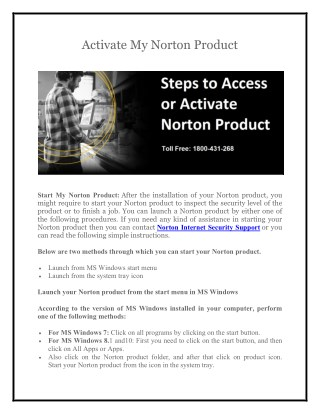 Norton Support  1800-431-268 to Activate My Norton Product