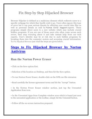 Norton Support  1800-431-268 to Fix Hijacked Browser