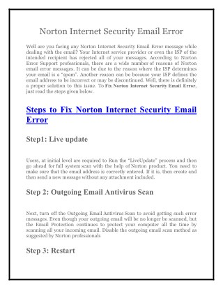 Norton Support  1800-431-268 to Fix Norton Internet Security Email Error
