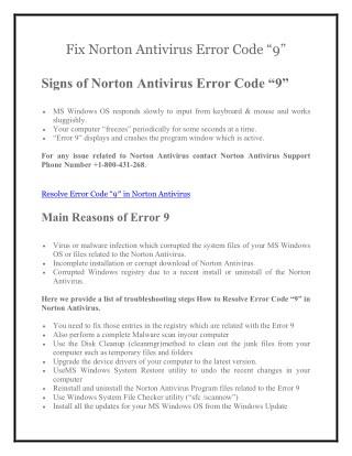 Support 1800-431-268 To Fix Norton Antivirus Error Code 9