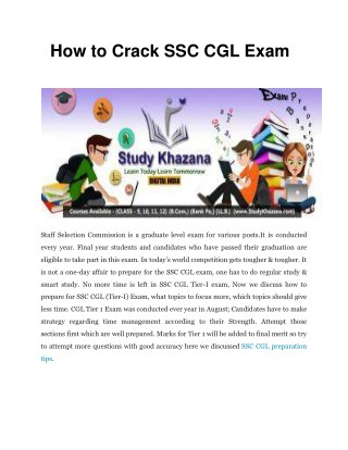 How to Crack SSC CGL Exam