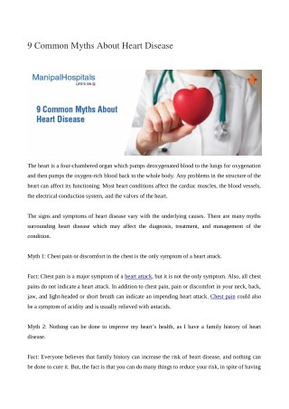 Common Myths About Heart Disease