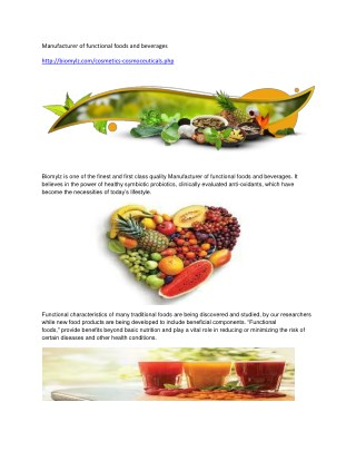 Manufacturer of functional foods and beverages
