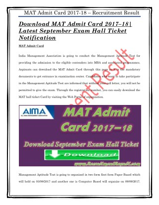 Download MAT Admit Card 2017–18| Latest September Exam Hall Ticket Notification