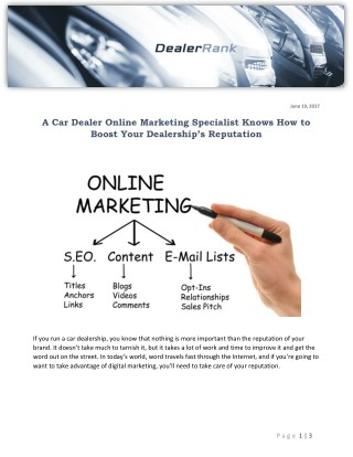 A Car Dealer Online Marketing Specialist Knows How to Boost Your Dealership's Reputation