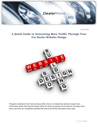 A Quick Guide to Generating More Traffic Through Your Car Dealer Website Design