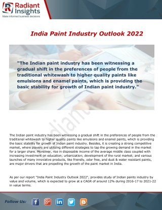 India Paint Industry Growth, Analysis and Forecast Report To 2022
